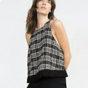 ZARA Woman Tweed Boucle Plaid Check Fringe Top S